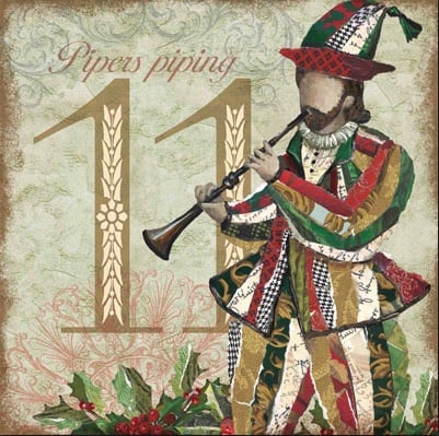 Eleven Pipers Playing