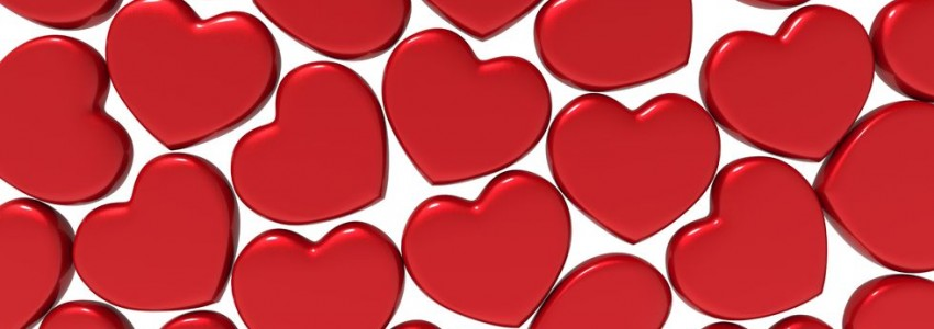 47807926 - many 3d red hearts shapes on a white background