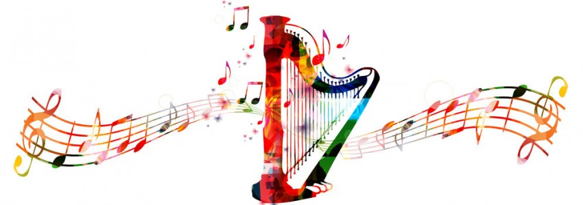 62621077 - creative music style template vector illustration, colorful concert harp, music instrument with music staff and notes background. design for poster, brochure, concert, music festival, music shop